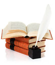 Old Book With Inkwell And Quill Pen Stock Photography - 38627292