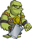 Cartoon Ogre With A Big Axe Royalty Free Stock Image - 38640596