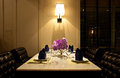 The Set Of Table For Dinner With Leather Chair Stock Photos - 38641443