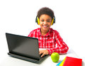 School Boy With Headset And Laptop Stock Photos - 38644453