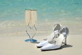 Bridal Shoes And Wedding Glasses Stock Photo - 38650020