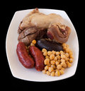 Chickpeas With Chorizo, Morcilla And Several Meats Royalty Free Stock Photography - 38671797