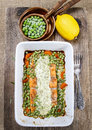 Roasted Salmon With Dill Sauce And Green Peas. Royalty Free Stock Photos - 38675958