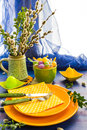 Easter Table Setting Bunch Willow Catkins Stock Image - 38690151