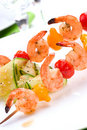 Grilled Shrimps And Cucumber Salad Stock Image - 3879971