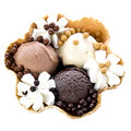 Chocolate Ice Cream With Cream In Waffle Bowl Royalty Free Stock Photo - 38701815