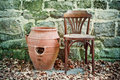 Old Vintage Wooden Chair And Amphora Royalty Free Stock Photo - 38721815