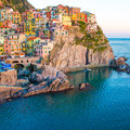 Sunset In Manarola, Cinque Terre, Italy Royalty Free Stock Photo - 38732655