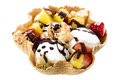 Milk Ice Cream In Waffle Bowl Stock Images - 38732844