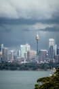 Sydney CBD Under Ominous Dark Storm Clouds Royalty Free Stock Photo - 38738495