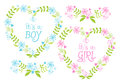 Baby Boy And Girl, Floral Hearts, Vector Royalty Free Stock Images - 38759259