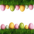 Colorful Easter Eggs On Green Grass Isolated Royalty Free Stock Photo - 38765275