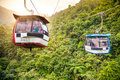 Aerial Tramway Moving Up In Tropical Jungle Mountains Royalty Free Stock Photography - 38766307