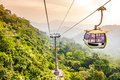 Aerial Tramway Moving Up In Tropical Jungle Mountains Stock Photos - 38766473