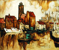Old Harbour In The German City Wismar, Painting Stock Image - 38769071
