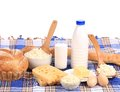 Composition With Bread ,milk And Cheese Stock Image - 38773161