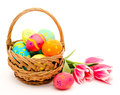 Colorful Easter Eggs In Basket And Flowers Royalty Free Stock Photo - 38778065