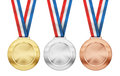 Gold, Silver, Bronze Medals With Ribbon Isolated Stock Photography - 38786542