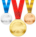 Gold, Silver, Bronze Sport Medals With Ribbon Royalty Free Stock Photography - 38801657