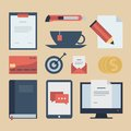 Modern Flat Icons  Collection, Web Design Objects, Business, Finance, Office And Marketing Items. Stock Photo - 38808950