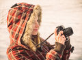 Young Woman With Retro Photo Camera Outdoor Royalty Free Stock Photo - 38810625