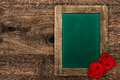 Blank Green Blackboard With Red Roses Stock Photography - 38811522