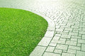 Concrete Walkway And Grass. Royalty Free Stock Photography - 38839717
