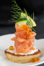 Smoked Salmon And Sour Cream Appetiser Stock Images - 38840334