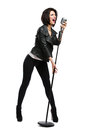 Full-length Portrait Of Rock Musician With Microphone Stock Image - 38844081