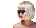 Fashion Blonde Model With Sexy Sunglasses Royalty Free Stock Photos - 38850718