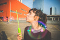 Young Beautiful Hipster Woman Bubble Blower Royalty Free Stock Image - 38860336