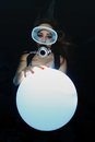 Scuba Woman With Sphere Underwater Stock Photos - 38869863