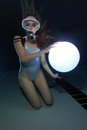 Scuba Woman With Sphere Underwater Stock Image - 38869981
