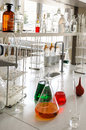 Glassware With Chemical Liquid In Laboratory Royalty Free Stock Images - 38871999