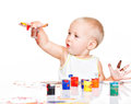 Little Baby Paint By His Hands. Royalty Free Stock Images - 38896189