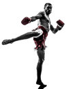 One Man Exercising Thai Boxing Silhouette Royalty Free Stock Images - 38901189
