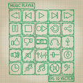 Music Player Icon Doodle Set Royalty Free Stock Photo - 38912835