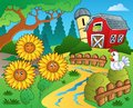 Farm Theme With Sunflowers Royalty Free Stock Photography - 38923127