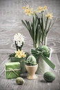 Easter Composition With Eggs And Daffodils Royalty Free Stock Image - 38932236