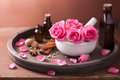 Spa And Aromatherapy Set Rose Mortar Spices Stock Photography - 38947462