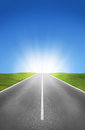 Road, Fields And Blue Sky Stock Images - 38950124