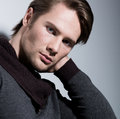 Portrait Of Sexy Young Man With Hand Near Face. Royalty Free Stock Photos - 38953768