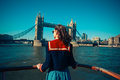 Young Woman On Boat Looking At Tower Bridge Royalty Free Stock Photo - 38960315
