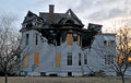 Fire Damage On A Victorian Home Stock Photo - 38963550