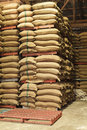 Stack Hemp Sacks Of Rice Stock Images - 38967844