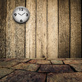 Old Clock On Grungy Wooden Wall And Brick Floor Stock Photography - 38975162