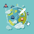 Travel Around The World Flat Design Royalty Free Stock Image - 38995106