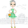 Vector Fashion Girl Top Model In The City Royalty Free Stock Images - 38999229