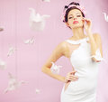 Young Flower Queen Among The Paper Swans Royalty Free Stock Photography - 38999467