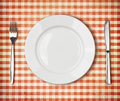 Plate, Fork, Knife Top View Over Old Tablecloth Royalty Free Stock Photos - 39002668